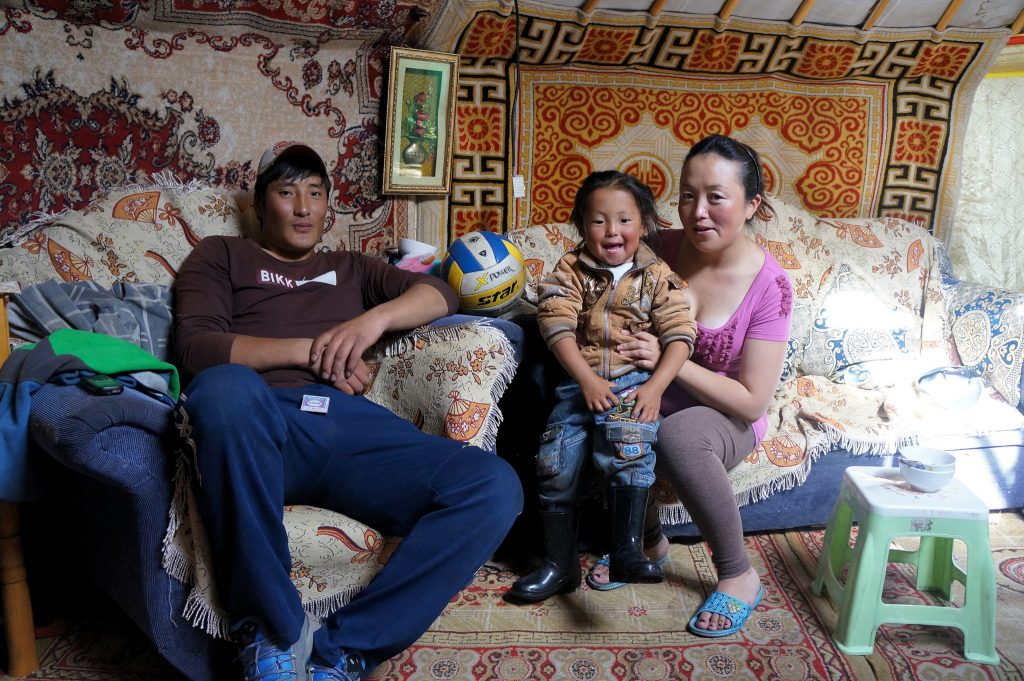 Mongolsko mladá rodina