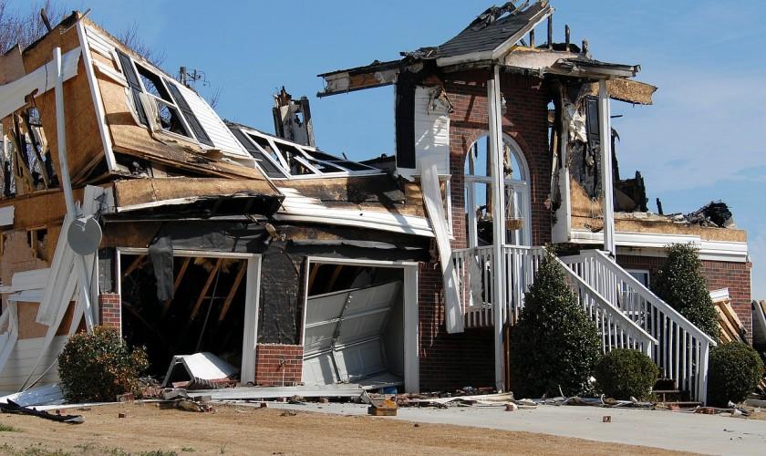 zbúraný dom