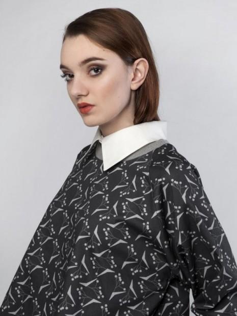 čierna vzorovaná košeľa Puojd