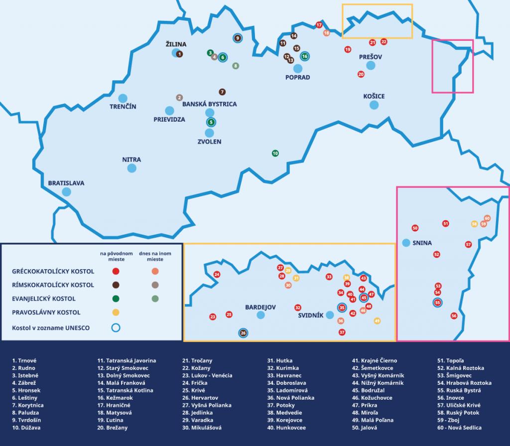 drevene kostoliky acerkvi slovensko mapa