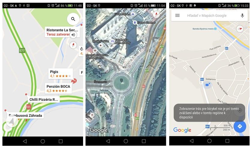 navigácie Google maps