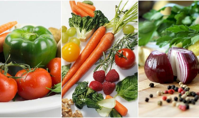 nakrájaná zelenina a ovocie